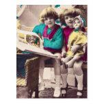 Hand Coloured Little Girls Reading Vintage Post Cards