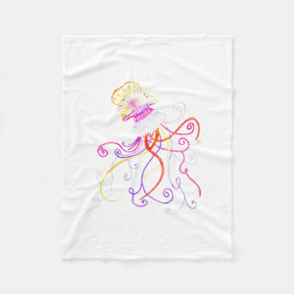 Hand Designed Jellyfish Fleece Blanket