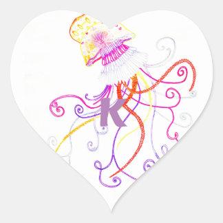 Hand Designed Jellyfish Heart Sticker