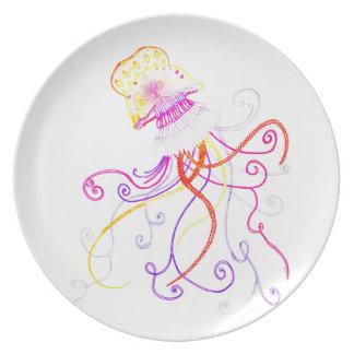 Hand Designed Jellyfish Melamine Plate