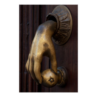 Hand door knocker close-up, Mexico Poster