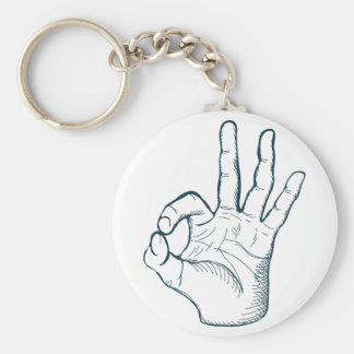 Hand draw sketch vintage okay hand sign key ring