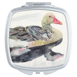 Hand Draw Watercolor Bird, Duck Compact Mirror