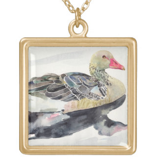 Hand Draw Watercolor Bird, Duck Gold Plated Necklace