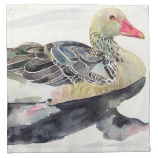 Hand Draw Watercolor Bird, Duck Napkin