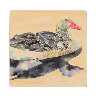 Hand Draw Watercolor Bird, Duck Wood Coaster