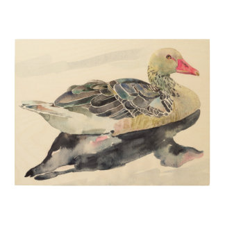 Hand Draw Watercolor Bird, Duck Wood Prints