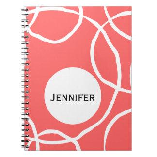 Hand Draw White Circles on Orange Notebook