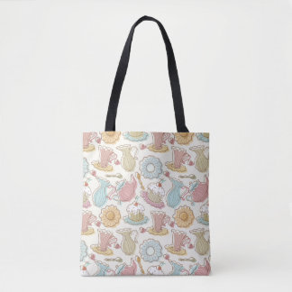 Hand Drawing Dishes Silhouettes Tote Bag