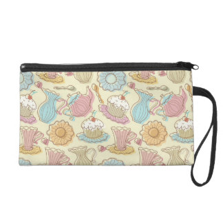 Hand Drawing Dishes Silhouettes Wristlet Purse