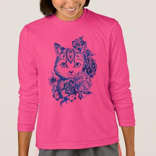 Hand Drawn 10 Blue Shades Cat Girls Longsleeve Tee