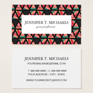 Hand Drawn Abstract Watermelon Pattern Business Card