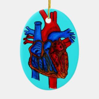 Hand Drawn Aqua Anatomical Heart Christmas Ornament