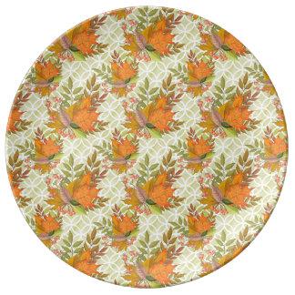 Hand Drawn Autumn Leaves Porcelain Plate
