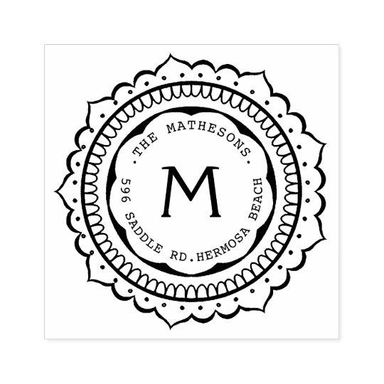Hand Drawn Badge Monogram Address Label Rubber Stamp