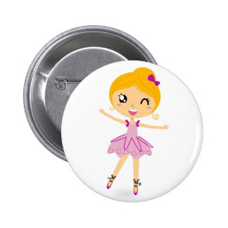 Hand drawn balerina girl on Button