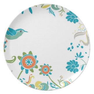 Hand-drawn Bird in the Garden Plate