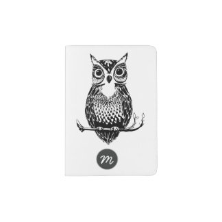 Hand Drawn Black and white Owl Passport Holder