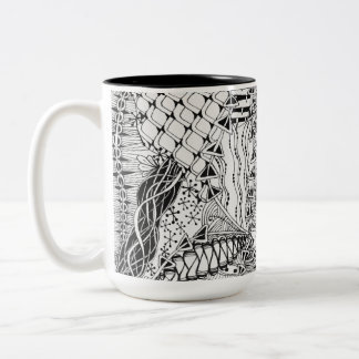 Hand-Drawn Black & White Doodle Pattern Art ZIA Two-Tone Coffee Mug