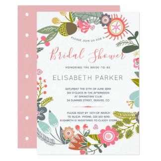 Hand drawn blooms meadow wreath bridal shower card