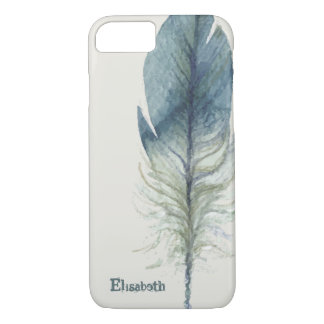 Hand drawn blue gray watercolor feather iPhone 8/7 case