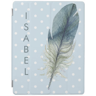 Hand drawn blue gray watercolor feather polka dots iPad cover