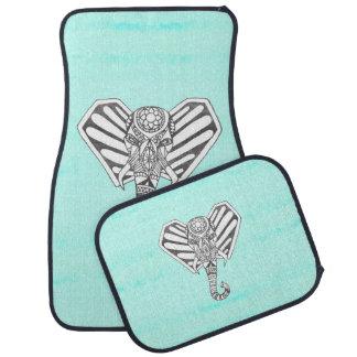 Hand Drawn Bohemian Tangle Elephant Aqua Tie Dye Car Mat
