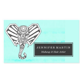 Hand Drawn Bohemian Tangle Elephant Aqua Tie Dye Pack Of Standard Business Cards