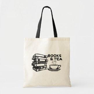 Hand drawn Books & Tea Tote Bag