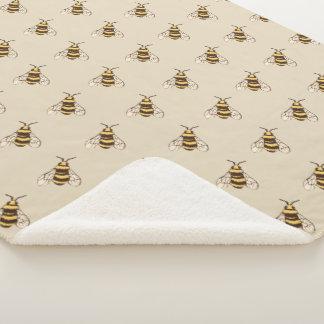 Hand Drawn Bumble Bees Sherpa Blanket