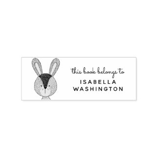 Hand-drawn Bunny This Book Belongs To Custom Name Rubber Stamp