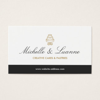 HAND-DRAWN CAKE LOGO IN GOLD FOR BAKERY or CHEF Business Card