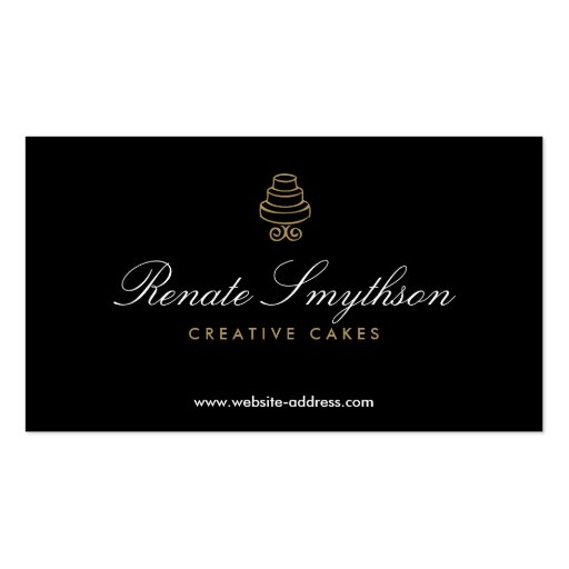 Create your own bakery baker business cards page2 hand drawn cake logo in gold ii for bakery or chef business card template reheart Gallery