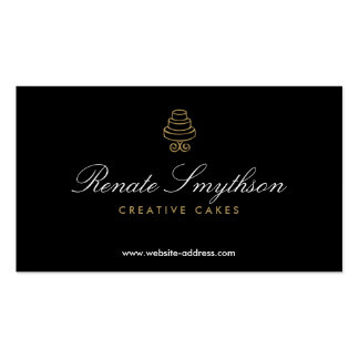HAND-DRAWN CAKE LOGO IN GOLD II FOR BAKERY or CHEF Pack Of Standard Business Cards