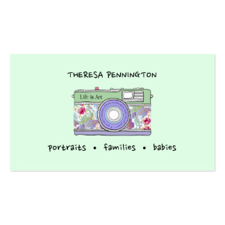 Hand Drawn Camera Floral Lavender Mint Green Photo Pack Of Standard Business Cards