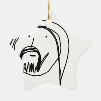 Hand drawn cartoon of Jesus Ceramic Star Decoration