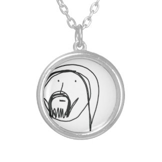 Hand drawn cartoon of Jesus Silver Plated Necklace