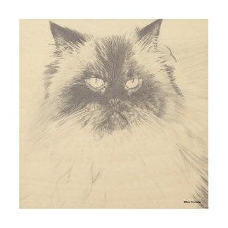 Hand Drawn Cat Wood Panel Art