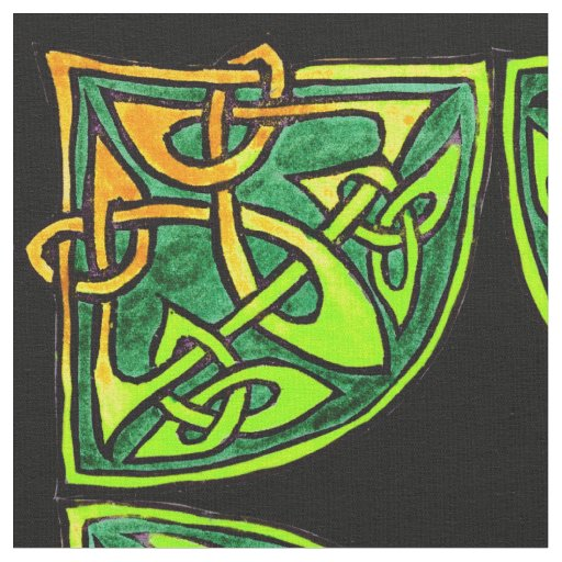 Hand-drawn Celtic Green Tile Pattern Fabric