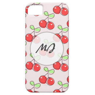 Hand Drawn Cherries, Pink Fruit Pattern Case For The iPhone 5