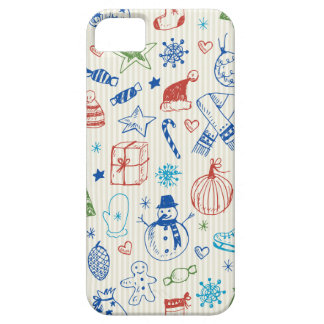 Hand drawn Christmas doodles design Barely There iPhone 5 Case