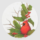 Hand-Drawn Christmas Illustration: Holly, Cardinal Round Stickers