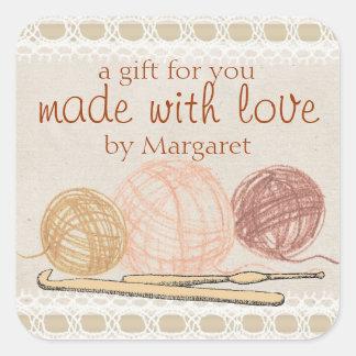 Hand drawn crayon yarn crochet hooks gift label