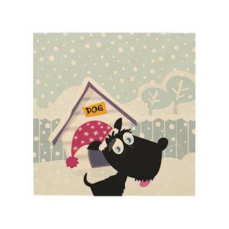 Hand drawn cute black Dog on wood Wood Wall Art