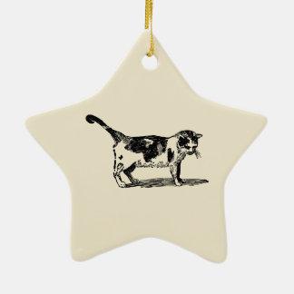 Hand Drawn Cute Cat Kitten Drawing Ceramic Star Decoration