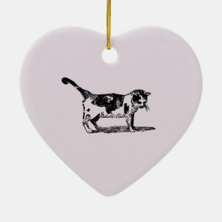 Hand Drawn Cute Cat Kitten Drawing Christmas Ornament