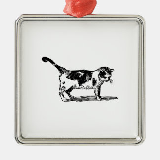 Hand Drawn Cute Cat Kitten Drawing Silver-Colored Square Decoration