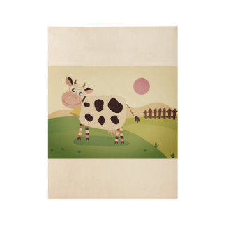 Hand drawn cute cow on pasture wood poster