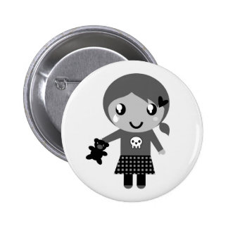 Hand drawn cute Girl with bear 6 Cm Round Badge