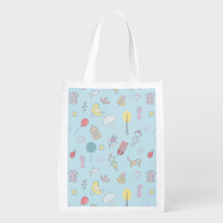 Hand Drawn Cute Stuff ID360 Reusable Grocery Bag